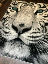 NEW TOP QUALITY TIGER DESIGHN 160CMX230CM STUNNING SILVER/OFF WHITE BLUE EYES